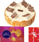 send Eggless Butterscotch Cake with Cadbury Celebrations Gift Pack n Card delivery