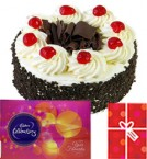 send Eggless Black Forest Cake with Cadbury celebrations gift pack n Card delivery
