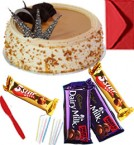 send Eggless Butterscotch Cake with Chocolate gift pack n Greeting Card delivery