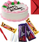 send Eggless Chocolate Strawberry Cake with Chocolate gift pack n Greeting Card delivery