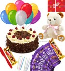 send Spicial Eggless Black Forest Cake Chocolates Teddy Balloons Combo Gift delivery