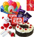send Any Time Eggless Black Forest Cake Chocolate Teddy Balloons delivery