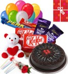 send Eggless Chocolate Traffle Cake n Chocolate Teddy Balloons for Any Time  delivery