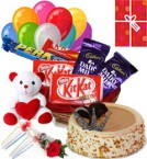 send Eggless Butterscotch Cake Chocolate Teddy Balloons for Any Time delivery