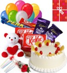 send Eggless pineapple Cake Chocolate Teddy Balloons for Any Time delivery