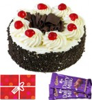send Half Kg Black Forest Cake n Chocolate Starter delivery