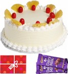 send Half Kg Pineapple Cake n Chocolate Starter delivery