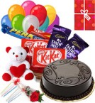 send Chocolate Traffle Cake Chocolate Teddy Balloons for Any Occasion delivery