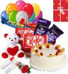 send Pineapple Cake Chocolate Teddy Balloons for Any Occasion delivery