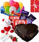 send 1Kg Heart Shaped Chocolate Cake Chocolate Teddy Balloons for Any Occasion delivery