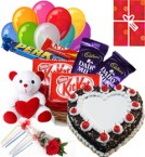 send 1Kg Heart Shaped Black Forest Cake Chocolate Teddy Balloons for Any Occasion delivery