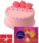 send Strawberry Cake n Cadbury Celebrations Gift Pack n Card delivery