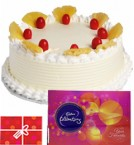 send Pineapple Cake with Cadbury Celebrations Gift Pack n Card delivery