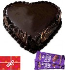 send 1kg Heart Shape Chocolate Truffle Cake n Chocolate n Card delivery