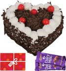 send 1kg Heart Shape Black Forest Cake n Chocolate n Card delivery