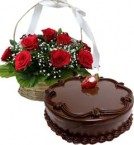 send  Chocolate Traffle Cake Half Kg N Red Roses Basket delivery