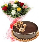 send 1Kg Chocolate Traffle Cake N Mix Roses Bouquet delivery