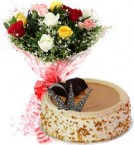 send 1Kg Butterscotch Cake  N Mix Roses Bouquet delivery