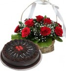 send 1Kg Chocolate Traffle Cake N Red Roses Basket delivery