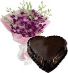 send 1Kg Heart Shape Chocolate Truffle Cake N Orchids Bouquet delivery