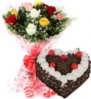 send 1Kg Heart Shape Black Forest Cake  N Mix Roses Bouquet delivery