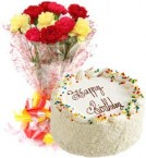 send Butterscotch Cake Half Kg N Carnations Bouquet delivery