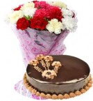 send 1Kg Chocolate Truffle Cake with Carnations Bouquet delivery