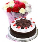 send 1Kg Black Forest Cake with Carnations Bouquet delivery