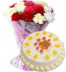 send 1Kg Butterscotch Cake with Carnations Bouquet delivery