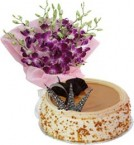 send Butterscotch Cake Half Kg N Orchids Bouquet delivery
