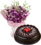 send  Chocolate Truffle Cake Half Kg N Orchids Bouquet delivery
