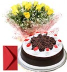 send Yellow Roses with Black Forest Cake Combo Gifts delivery