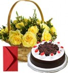 send Black Forest Cake Half Kg N Yellow Roses Busket delivery