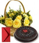 send Chocolate Truffle Cake Half Kg N Yellow Roses Busket delivery