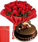 send 25 Red Roses Bouquet with Half Kg Chocolate Truffle Cake n Greeting Card delivery
