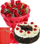send 25 Red Roses Bouquet with Half Kg Black Forest Cake n Greeting Card delivery