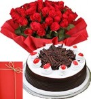 send 1Kg Black Forest Cake with 25 Red Roses Bouquet n Greeting Card delivery