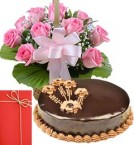 send 1Kg Chocolate Truffle Cake with Pink Roses Bouquet n Greeting Card delivery