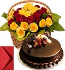 send Chocolate Truffle Cake Half Kg with Red Yellow Roses Basket delivery