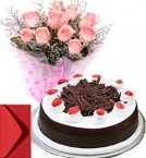 send Black Forest Cake Half Kg with Pink Roses Bouquet n Card delivery