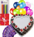 send 1Kg Heart Shaped Black Forest Cake n Chocolate Gifts Combo delivery