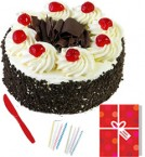 send Fresh Half Kg Black Forest Cake Candle Greeting Card  delivery