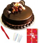 send Fresh Half Kg Chocolate Cake Candle Greeting Card  delivery