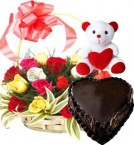 send Heart Shape Chocolate Truffle Cake 1Kg N Roses Basket Teddy Gifts delivery