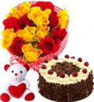 send Red Yellow Roses Basket Black Forest Cake Teddy Gifts delivery