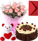 send Pink Roses Bouquet Black Forest Cake Teddy delivery