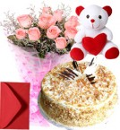 send Pink Roses Bouquet Butterscotch Cake Teddy delivery