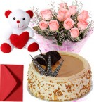 send 1Kg Butterscotch Cake Pink Roses Bouquet Teddy delivery
