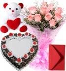 send 1Kg Heart Shape Black Forest Cake Pink Roses Bouquet Teddy delivery