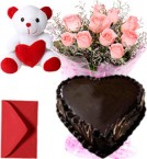 send 1Kg Heart Shape Chocolate Cake Pink Roses Bouquet Teddy delivery